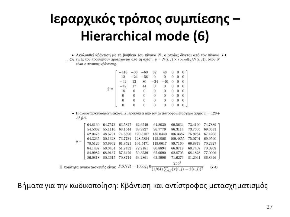 Βήματα για την κωδικοποίηση: Κβάντιση και αντίστροφος μετασχηματισμός Ιεραρχικός τρόπος συμπίεσης – Hierarchical mode (6) 27