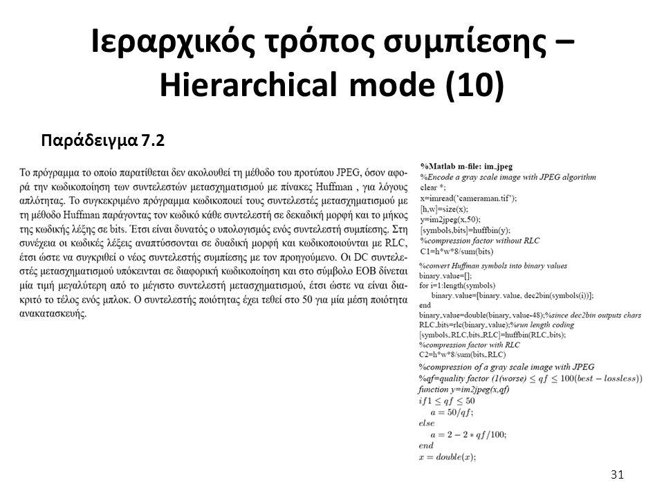 Ιεραρχικός τρόπος συμπίεσης – Hierarchical mode (10) Παράδειγμα 7.2 31