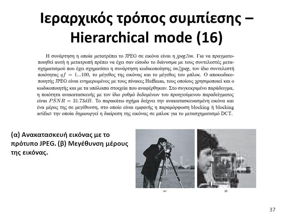 Ιεραρχικός τρόπος συμπίεσης – Hierarchical mode (16) (α) Ανακατασκευή εικόνας με το πρότυπο JPEG.