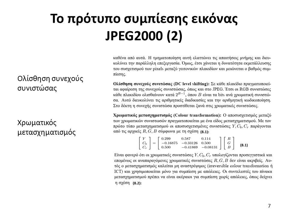 Χρωματικός μετασχηματισμός Κωδικοποιητής (core encoder) Το πρότυπο συμπίεσης εικόνας JPEG2000 (3) 8