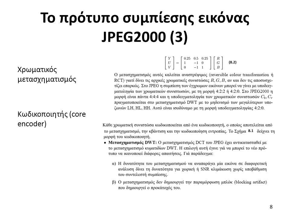 Σύγκριση των προτύπων συμπίεσης (7) Πίνακας 8.1 Συντελεστής συμπίεσης αλγορίθμων για συμπίεση χωρίς απώλειες.