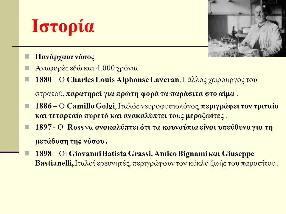 Πανάρχαια νόσος Αναφορές εδώ και 4.000 χρόνια 1880 – Ο Charles Louis Alphonse Laveran, Γάλλος χειρουργός του στρατού, παρατηρεί για πρώτη φορά τα παράσιτα στο αίμα.