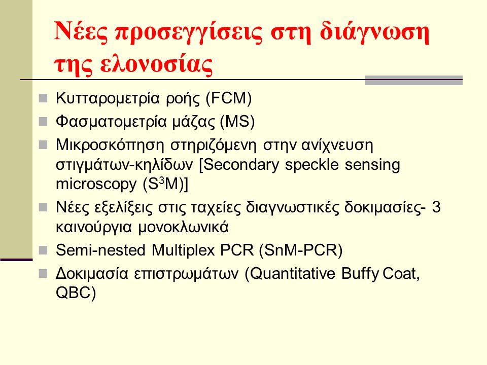Νέες προσεγγίσεις στη διάγνωση της ελονοσίας Κυτταρομετρία ροής (FCM) Φασματομετρία μάζας (MS) Μικροσκόπηση στηριζόμενη στην ανίχνευση στιγμάτων-κηλίδων [Secondary speckle sensing microscopy (S 3 M)] Νέες εξελίξεις στις ταχείες διαγνωστικές δοκιμασίες- 3 καινούργια μονοκλωνικά Semi-nested Multiplex PCR (SnM-PCR) Δοκιμασία επιστρωμάτων (Quantitative Buffy Coat, QBC)