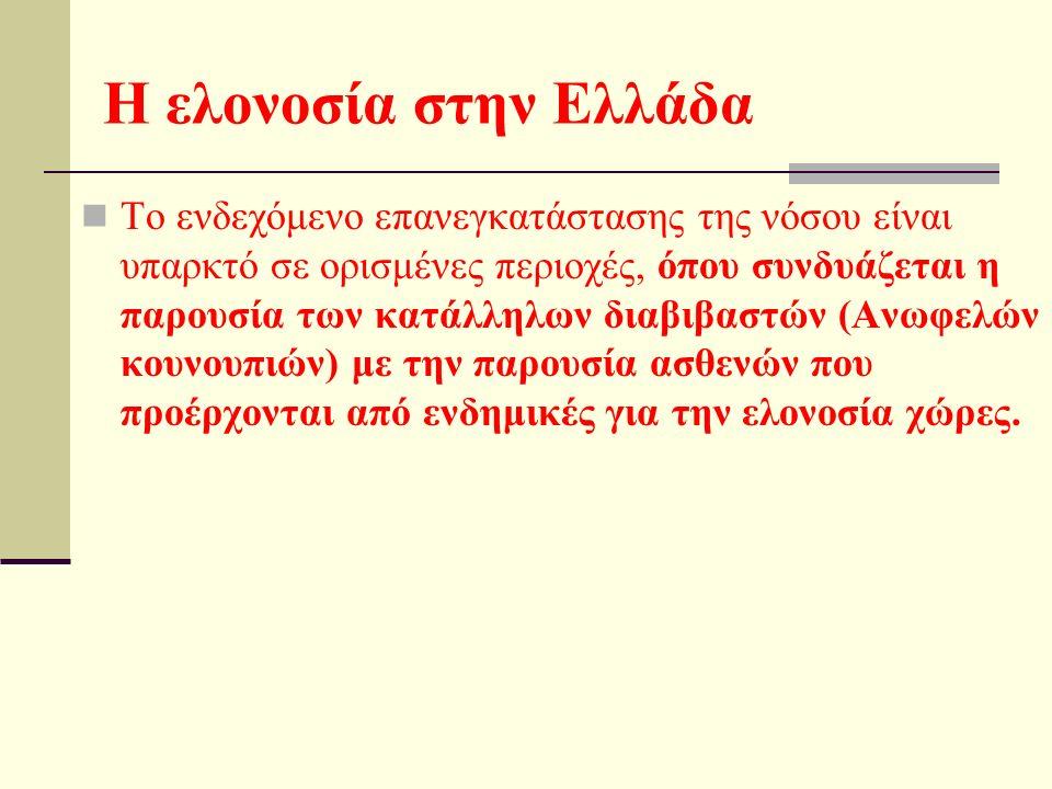 H ελονοσία στην Ελλάδα Tο ενδεχόμενο επανεγκατάστασης της νόσου είναι υπαρκτό σε ορισμένες περιοχές, όπου συνδυάζεται η παρουσία των κατάλληλων διαβιβαστών (Aνωφελών κουνουπιών) με την παρουσία ασθενών που προέρχονται από ενδημικές για την ελονοσία χώρες.
