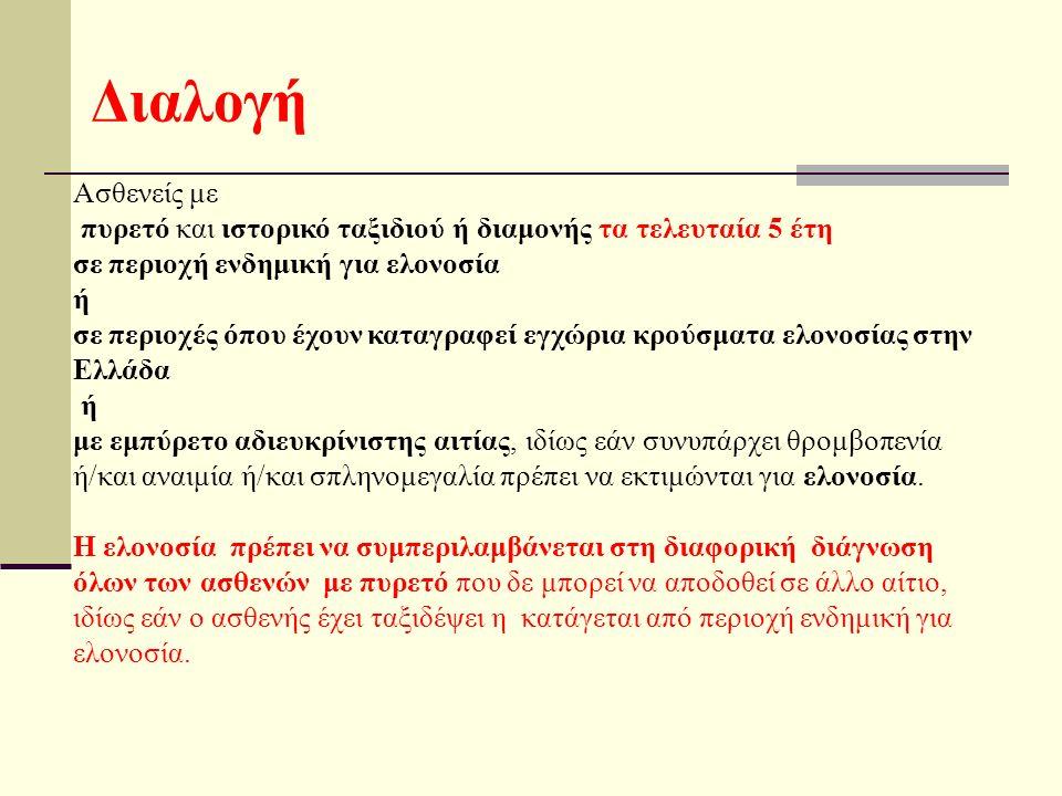 Διαλογή Ασθενείς με πυρετό και ιστορικό ταξιδιού ή διαμονής τα τελευταία 5 έτη σε περιοχή ενδημική για ελονοσία ή σε περιοχές όπου έχουν καταγραφεί εγχώρια κρούσματα ελονοσίας στην Ελλάδα ή με εμπύρετο αδιευκρίνιστης αιτίας, ιδίως εάν συνυπάρχει θρομβοπενία ή/και αναιμία ή/και σπληνομεγαλία πρέπει να εκτιμώνται για ελονοσία.