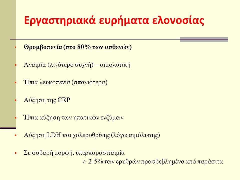 Εργαστηριακά ευρήματα ελονοσίας Θρομβοπενία (στο 80% των ασθενών)  Αναιμία (λιγότερο συχνή) – αιμολυτική  Ήπια λευκοπενία (σπανιότερα)  Αύξηση της CRP  Ήπια αύξηση των ηπατικών ενζύμων  Αύξηση LDH και χολερυθρίνης (λόγω αιμόλυσης)  Σε σοβαρή μορφή: υπερπαρασιταιμία > 2-5% των ερυθρών προσβεβλημένα από παράσιτα