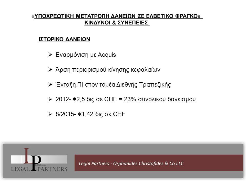  Εναρμόνιση με Acquis  Άρση περιορισμού κίνησης κεφαλαίων  Ένταξη ΠΙ στον τομέα Διεθνής Τραπεζικής  2012- €2,5 δις σε CHF = 23% συνολικού δανεισμού  8/2015- €1,42 δις σε CHF