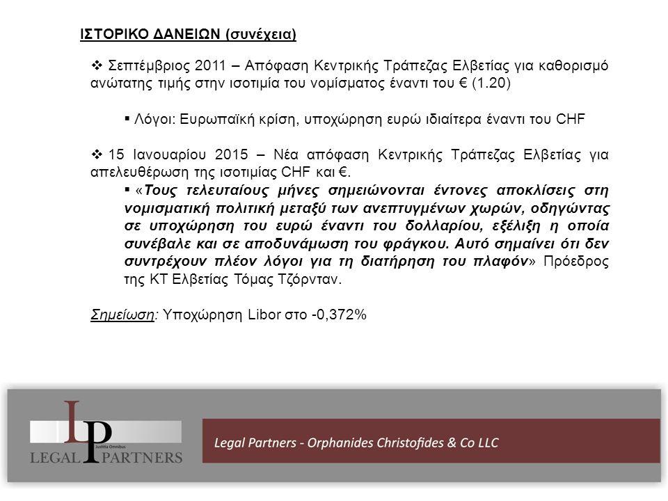 ΙΣΤΟΡΙΚΟ ΔΑΝΕΙΩΝ (συνέχεια)  Σεπτέμβριος 2011 – Απόφαση Κεντρικής Τράπεζας Ελβετίας για καθορισμό ανώτατης τιμής στην ισοτιμία του νομίσματος έναντι του € (1.20)  Λόγοι: Ευρωπαϊκή κρίση, υποχώρηση ευρώ ιδιαίτερα έναντι του CHF  15 Ιανουαρίου 2015 – Νέα απόφαση Κεντρικής Τράπεζας Ελβετίας για απελευθέρωση της ισοτιμίας CHF και €.