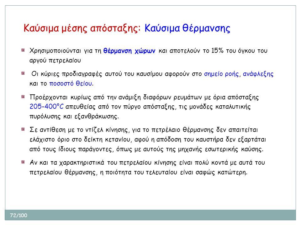 72/100 Καύσιμα μέσης απόσταξης: Καύσιμα θέρμανσης Χρησιμοποιούνται για τη θέρμανση χώρων και αποτελούν το 15% του όγκου του αργού πετρελαίου Οι κύριες