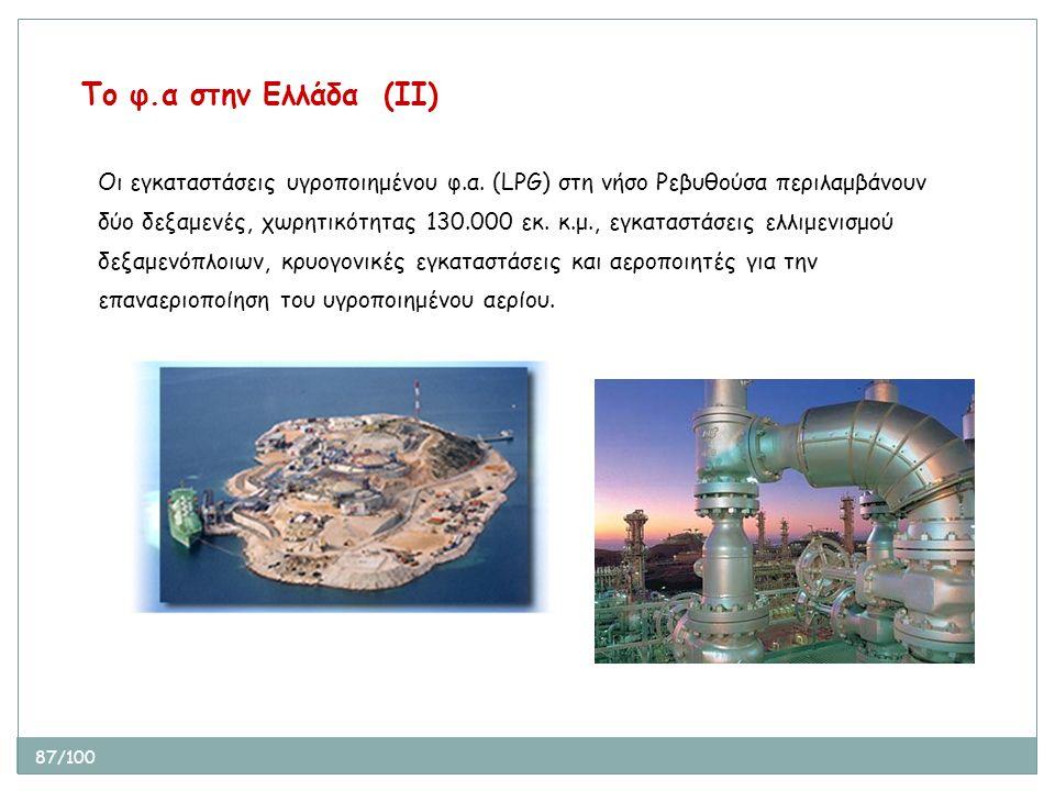 87/100 Οι εγκαταστάσεις υγροποιημένου φ.α. (LPG) στη νήσο Ρεβυθούσα περιλαμβάνουν δύο δεξαμενές, χωρητικότητας 130.000 εκ. κ.μ., εγκαταστάσεις ελλιμεν