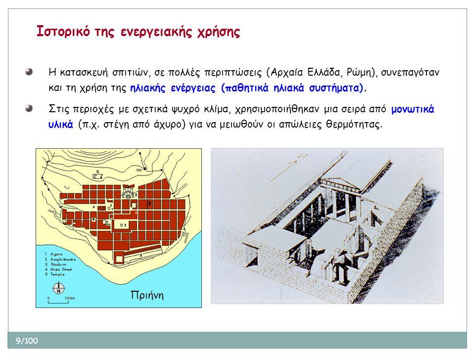 9/100 Ιστορικό της ενεργειακής χρήσης Η κατασκευή σπιτιών, σε πολλές περιπτώσεις (Αρχαία Ελλάδα, Ρώμη), συνεπαγόταν και τη χρήση της ηλιακής ενέργειας