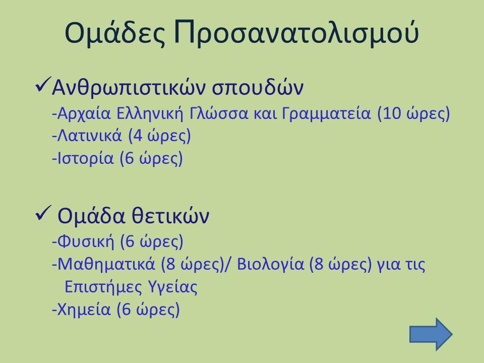 Ομάδες Π ροσανατολισμού Ανθρωπιστικών σπουδών -Αρχαία Ελληνική Γλώσσα και Γραμματεία (10 ώρες) -Λατινικά (4 ώρες) -Ιστορία (6 ώρες) Ομάδα θετικών -Φυσική (6 ώρες) -Μαθηματικά (8 ώρες)/ Βιολογία (8 ώρες) για τις Επιστήμες Υγείας -Χημεία (6 ώρες)