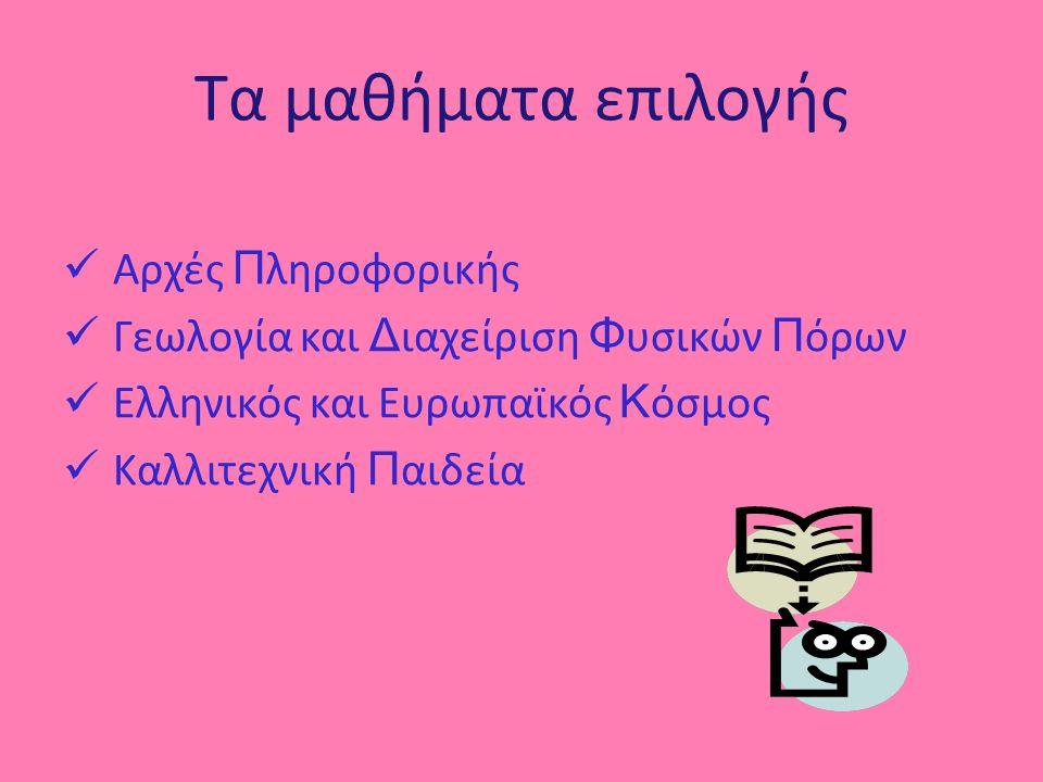 Τα μαθήματα επιλογής Αρχές Π ληροφορικής Γεωλογία και Δ ιαχείριση Φ υσικών Π όρων Ελληνικός και Ευρωπαϊκός Κ όσμος Καλλιτεχνική Π αιδεία
