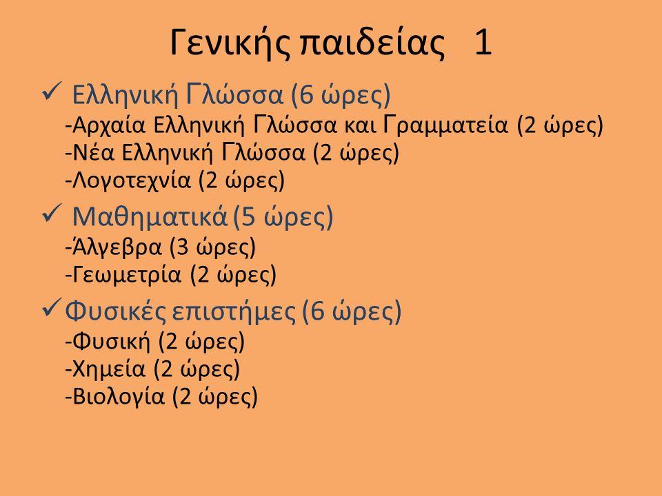Γενικής παιδείας 1 Ελληνική Γ λώσσα (6 ώρες) -Αρχαία Ελληνική Γ λώσσα και Γ ραμματεία (2 ώρες) -Νέα Ελληνική Γ λώσσα (2 ώρες) -Λογοτεχνία (2 ώρες) Μαθηματικά (5 ώρες) -Άλγεβρα (3 ώρες) -Γεωμετρία (2 ώρες) Φυσικές επιστήμες (6 ώρες) -Φυσική (2 ώρες) -Χημεία (2 ώρες) -Βιολογία (2 ώρες)