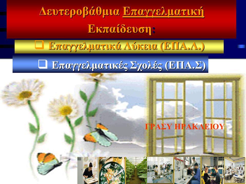 ΓΡΑΣΥ ΗΡΑΚΛΕΙΟΥ Δευτεροβάθμια Επαγγελματική Εκπαίδευση : Επαγγελματικά Λύκεια (ΕΠΑ.Λ.)  Επαγγελματικά Λύκεια (ΕΠΑ.Λ.)  ΕπαγγελματικέςΣχολές (ΕΠΑ.Σ)  Επαγγελματικές Σχολές (ΕΠΑ.Σ)