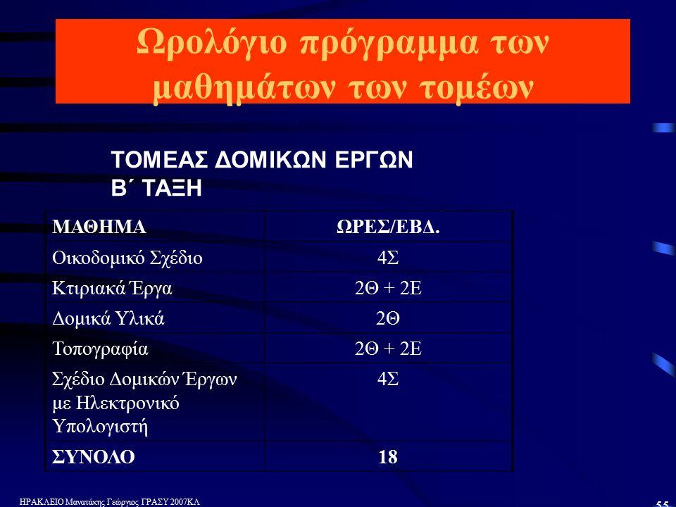 ΗΡΑΚΛΕΙΟ Μανατάκης Γεώργιος ΓΡΑΣΥ 2007ΚΛ 55 Ωρολόγιο πρόγραμμα των μαθημάτων των τομέων ΤΟΜΕΑΣ ΔΟΜΙΚΩΝ ΕΡΓΩΝ Β΄ ΤΑΞΗ ΜΑΘΗΜΑΩΡΕΣ/ΕΒΔ.