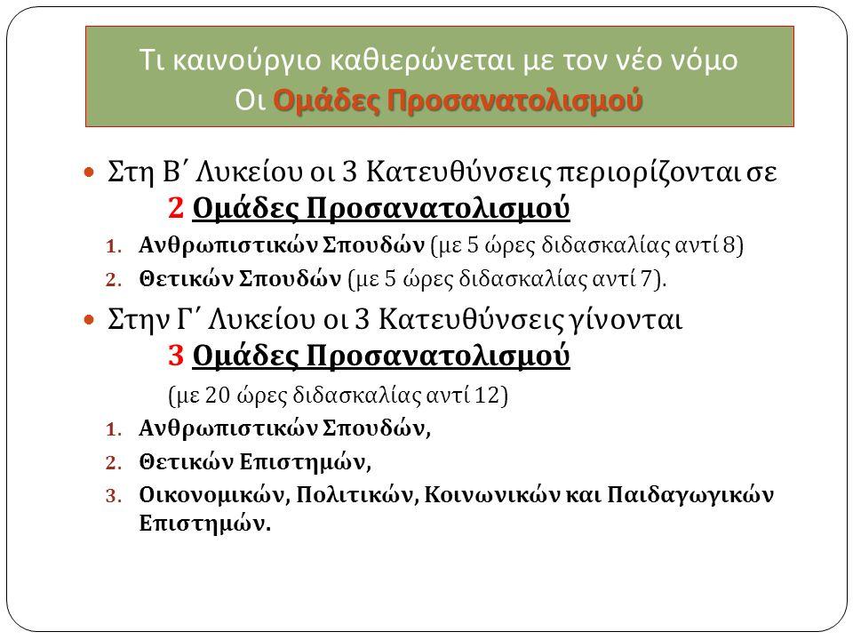 Ομάδες Προσανατολισμού Τι καινούργιο καθιερώνεται με τον νέο νόμο Οι Ομάδες Προσανατολισμού Στη Β΄ Λυκείου οι 3 Κατευθύνσεις περιορίζονται σε 2 Ομάδες Προσανατολισμού 1.