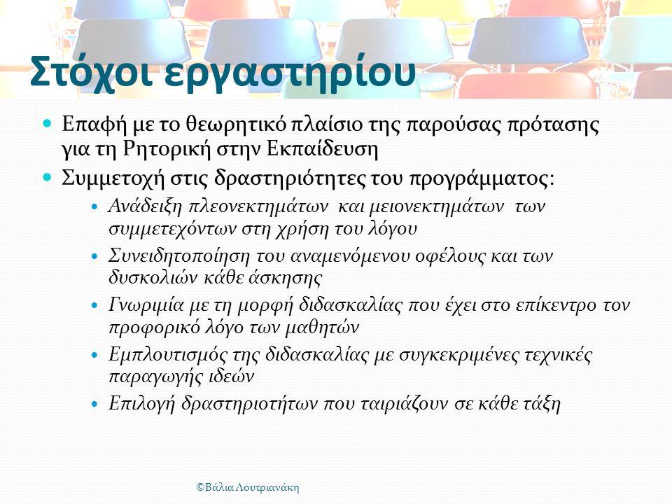Στόχοι εργαστηρίου Επαφή με το θεωρητικό πλαίσιο της παρούσας πρότασης για τη Ρητορική στην Εκπαίδευση Συμμετοχή στις δραστηριότητες του προγράμματος: Ανάδειξη πλεονεκτημάτων και μειονεκτημάτων των συμμετεχόντων στη χρήση του λόγου Συνειδητοποίηση του αναμενόμενου οφέλους και των δυσκολιών κάθε άσκησης Γνωριμία με τη μορφή διδασκαλίας που έχει στο επίκεντρο τον προφορικό λόγο των μαθητών Εμπλουτισμός της διδασκαλίας με συγκεκριμένες τεχνικές παραγωγής ιδεών Επιλογή δραστηριοτήτων που ταιριάζουν σε κάθε τάξη ©Βάλια Λουτριανάκη