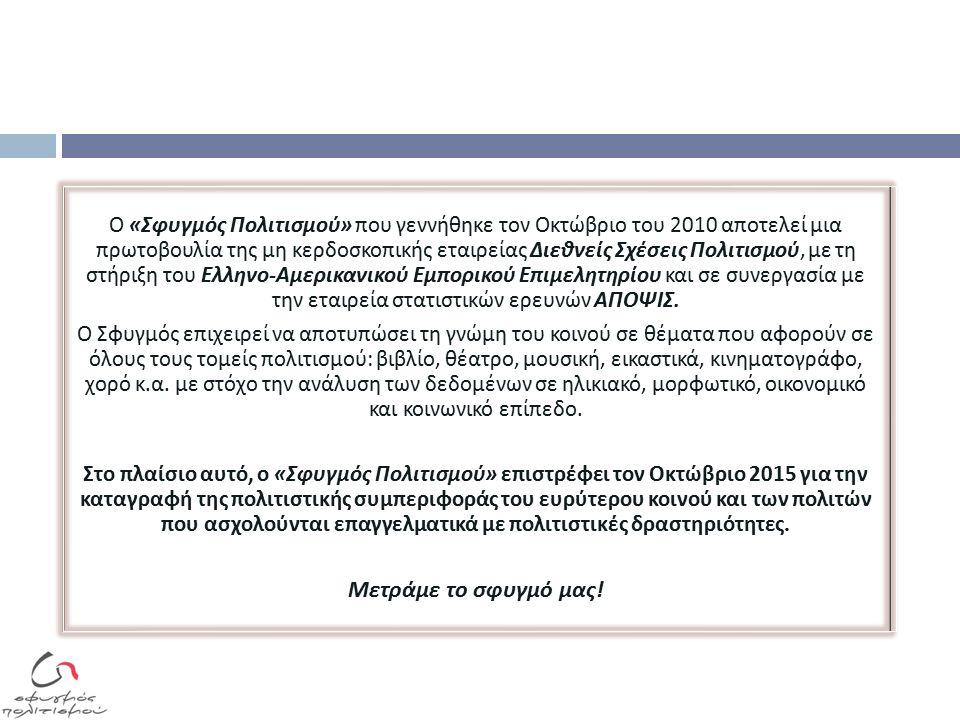 Ο « Σφυγμός Πολιτισμού » π ου γεννήθηκε τον Οκτώβριο του 2010 α π οτελεί μια π ρωτοβουλία της μη κερδοσκο π ικής εταιρείας Διεθνείς Σχέσεις Πολιτισμού, με τη στήριξη του Ελληνο - Αμερικανικού Εμ π ορικού Ε π ιμελητηρίου και σε συνεργασία με την εταιρεία στατιστικών ερευνών ΑΠΟΨΙΣ.