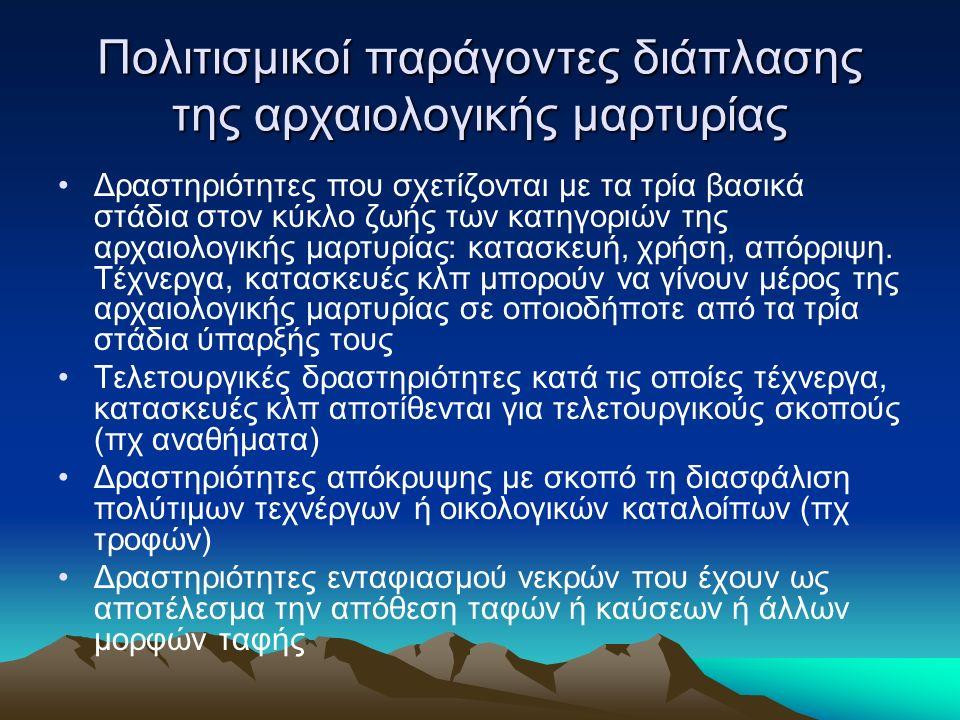 Πολιτισμικοί παράγοντες διάπλασης της αρχαιολογικής μαρτυρίας Δραστηριότητες που σχετίζονται με τα τρία βασικά στάδια στον κύκλο ζωής των κατηγοριών της αρχαιολογικής μαρτυρίας: κατασκευή, χρήση, απόρριψη.