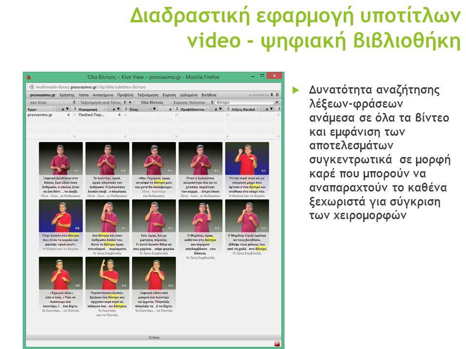 Διαδραστική εφαρμογή υποτίτλων video - ψηφιακή βιβλιοθήκη  Δυνατότητα αναζήτησης λέξεων-φράσεων ανάμεσα σε όλα τα βίντεο και εμφάνιση των αποτελεσμάτων συγκεντρωτικά σε μορφή καρέ που μπορούν να αναπαραχτούν το καθένα ξεχωριστά για σύγκριση των χειρομορφών