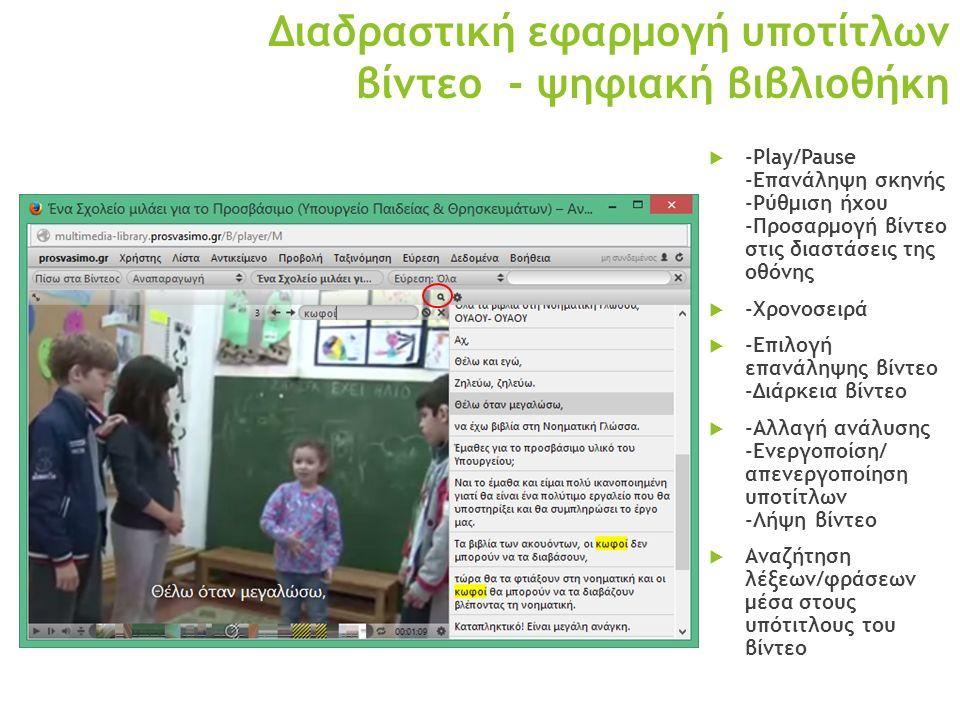 Διαδραστική εφαρμογή υποτίτλων βίντεο - ψηφιακή βιβλιοθήκη  -Play/Pause -Επανάληψη σκηνής -Ρύθμιση ήχου -Προσαρμογή βίντεο στις διαστάσεις της οθόνης