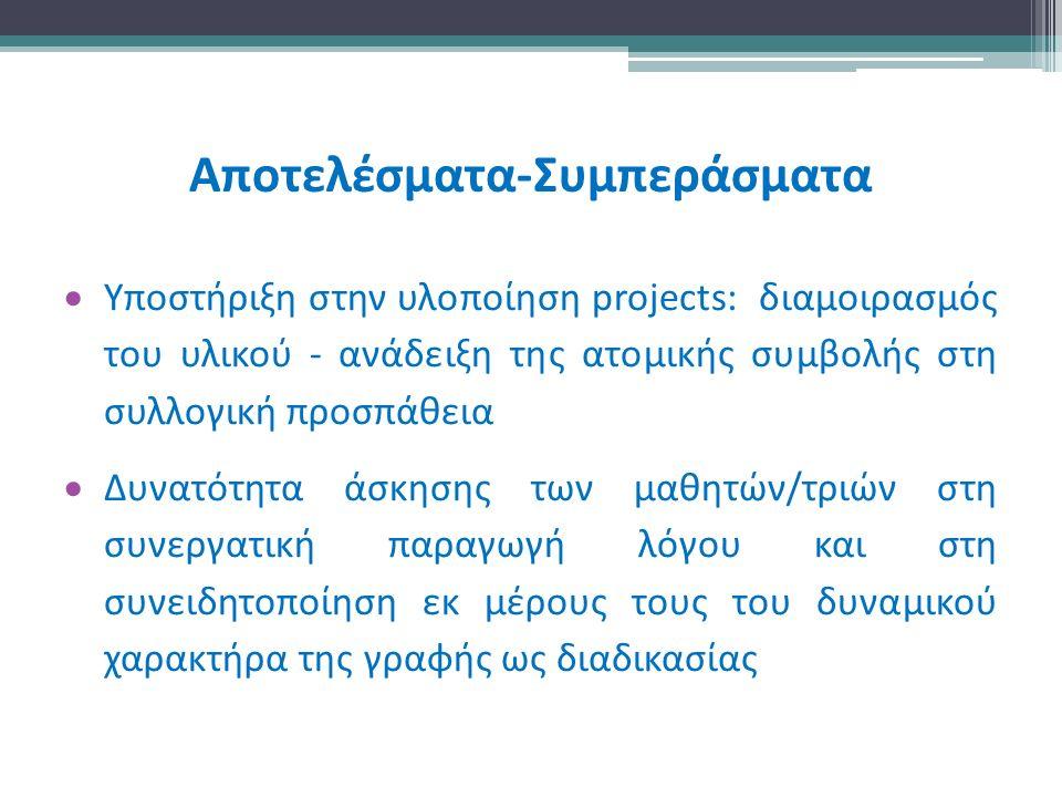 Αποτελέσματα-Συμπεράσματα  Υποστήριξη στην υλοποίηση projects: διαμοιρασμός του υλικού - ανάδειξη της ατομικής συμβολής στη συλλογική προσπάθεια  Δυνατότητα άσκησης των μαθητών/τριών στη συνεργατική παραγωγή λόγου και στη συνειδητοποίηση εκ μέρους τους του δυναμικού χαρακτήρα της γραφής ως διαδικασίας