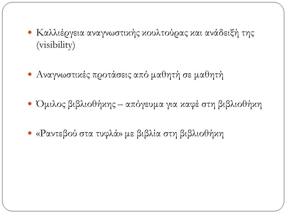 Καλλιέργεια αναγνωστικής κουλτούρας και ανάδειξή της (visibility) Αναγνωστικές προτάσεις από μαθητή σε μαθητή Όμιλος βιβλιοθήκης – απόγευμα για καφέ στη βιβλιοθήκη «Ραντεβού στα τυφλά» με βιβλία στη βιβλιοθήκη