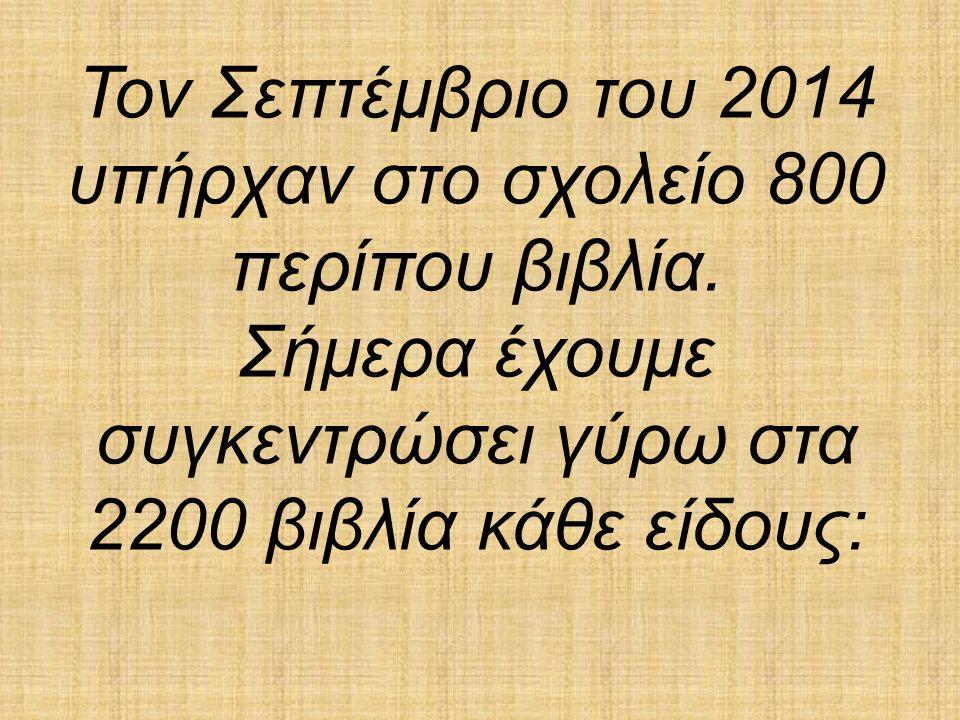 Τον Σεπτέμβριο του 2014 υπήρχαν στο σχολείο 800 περίπου βιβλία.