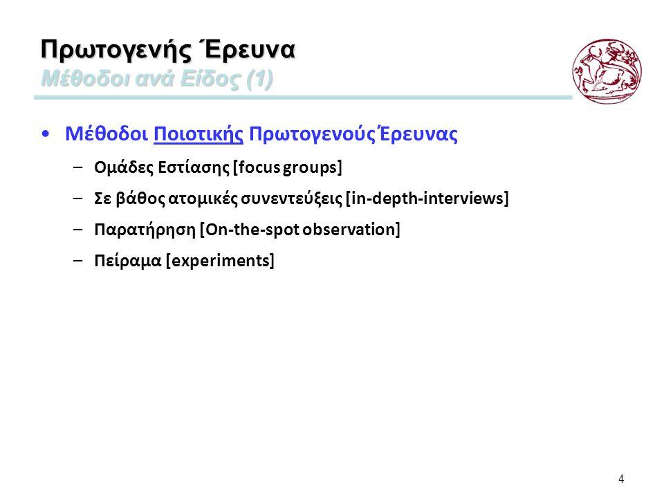4 Πρωτογενής Έρευνα Μέθοδοι ανά Είδος (1) Μέθοδοι Ποιοτικής Πρωτογενούς Έρευνας –Ομάδες Εστίασης [focus groups] –Σε βάθος ατομικές συνεντεύξεις [in-depth-interviews] –Παρατήρηση [On-the-spot observation] –Πείραμα [experiments]