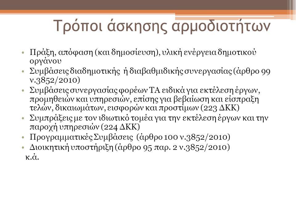 Τρόποι άσκησης αρμοδιοτήτων Πράξη, απόφαση (και δημοσίευση), υλική ενέργεια δημοτικού οργάνου Συμβάσεις διαδημοτικής ή διαβαθμιδικής συνεργασίας (άρθρ