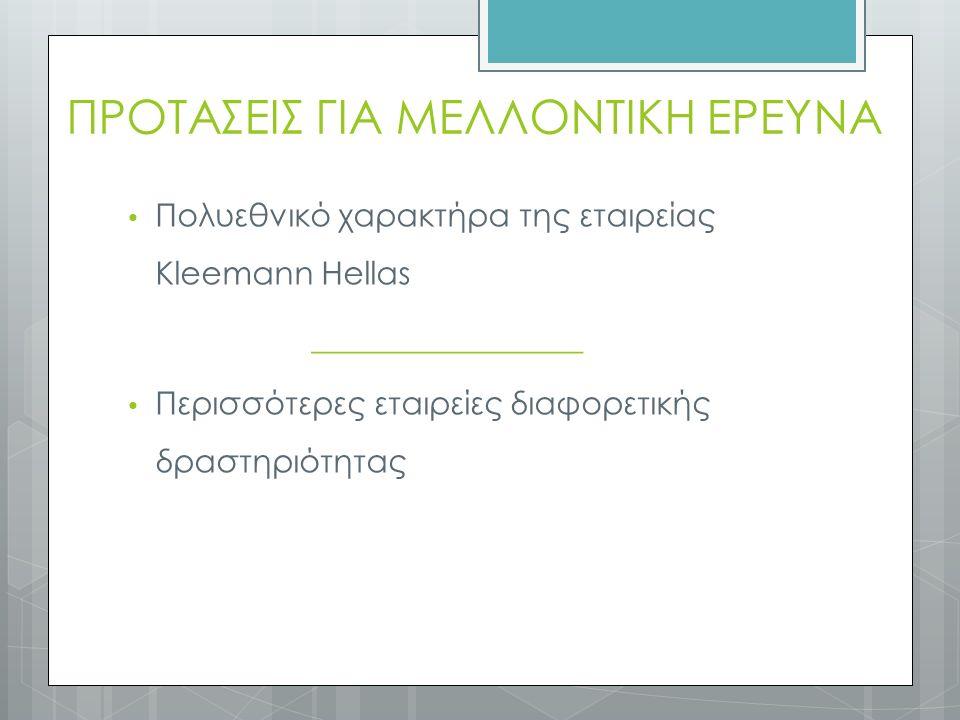 ΠΡΟΤΑΣΕΙΣ ΓΙΑ ΜΕΛΛΟΝΤΙΚΗ ΕΡΕΥΝΑ Πολυεθνικό χαρακτήρα της εταιρείας Kleemann Hellas _________________ Περισσότερες εταιρείες διαφορετικής δραστηριότητας