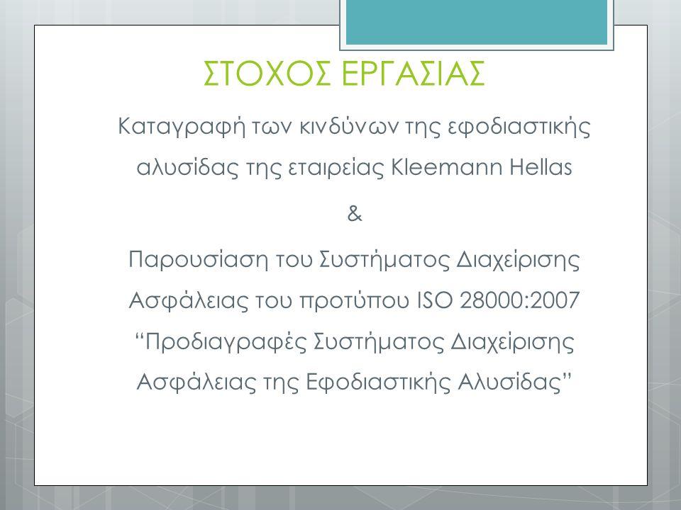 ΣΤΟΧΟΣ ΕΡΓΑΣΙΑΣ Καταγραφή των κινδύνων της εφοδιαστικής αλυσίδας της εταιρείας Kleemann Hellas & Παρουσίαση του Συστήματος Διαχείρισης Ασφάλειας του προτύπου ISO 28000:2007 Προδιαγραφές Συστήματος Διαχείρισης Ασφάλειας της Εφοδιαστικής Αλυσίδας