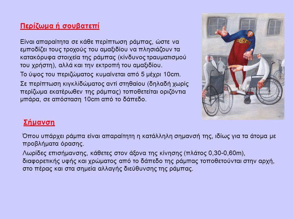 Είναι απαραίτητα σε κάθε περίπτωση ράμπας, ώστε να εμποδίζει τους τροχούς του αμαξιδίου να πλησιάζουν τα κατακόρυφα στοιχεία της ράμπας (κίνδυνος τραυματισμού του χρήστη), αλλά και την εκτροπή του αμαξιδίου.