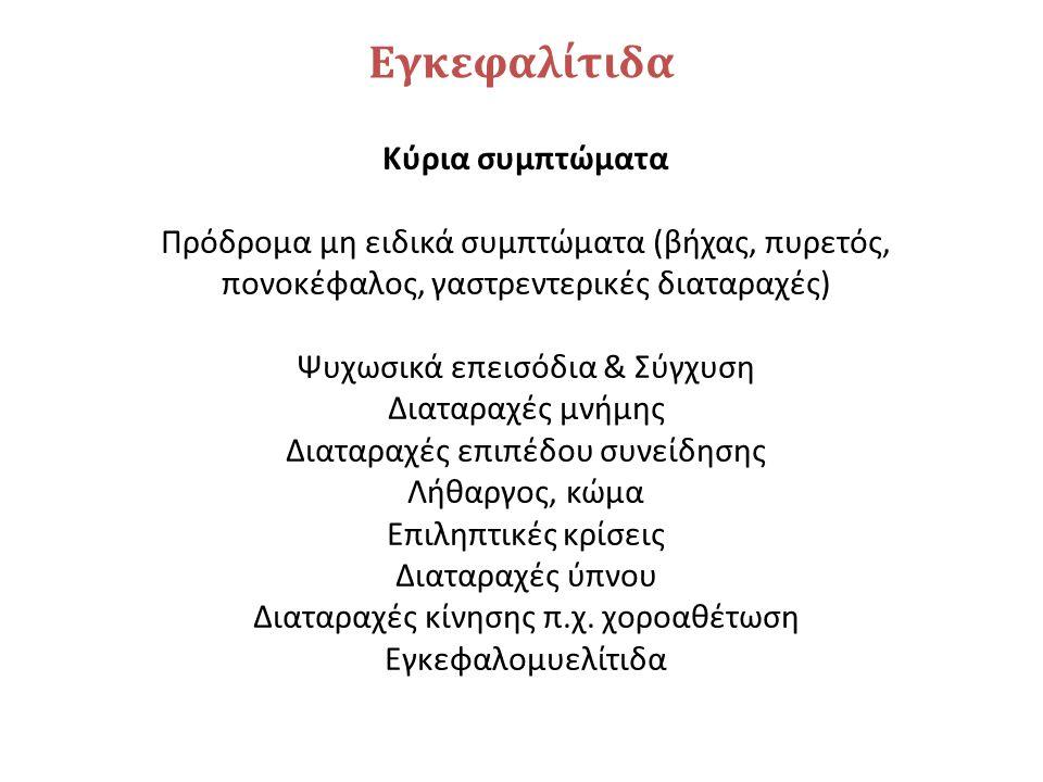 Εγκεφαλίτιδα Κύρια συμπτώματα Πρόδρομα μη ειδικά συμπτώματα (βήχας, πυρετός, πονοκέφαλος, γαστρεντερικές διαταραχές) Ψυχωσικά επεισόδια & Σύγχυση Διατ