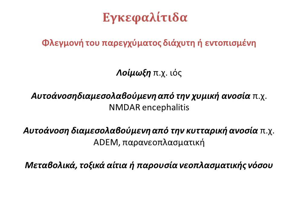 Εγκεφαλίτιδα Φλεγμονή του παρεγχύματος διάχυτη ή εντοπισμένη Λοίμωξη π.χ. ιός Αυτοάνοσηδιαμεσολαβούμενη από την χυμική ανοσία π.χ. NMDAR encephalitis