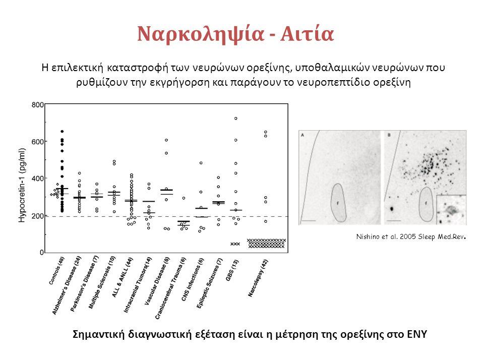 Ναρκοληψία - Αιτία Η επιλεκτική καταστροφή των νευρώνων ορεξίνης, υποθαλαμικών νευρώνων που ρυθμίζουν την εκγρήγορση και παράγουν το νευροπεπτίδιο ορεξίνη Σημαντική διαγνωστική εξέταση είναι η μέτρηση της ορεξίνης στο ΕΝΥ Nishino et al.