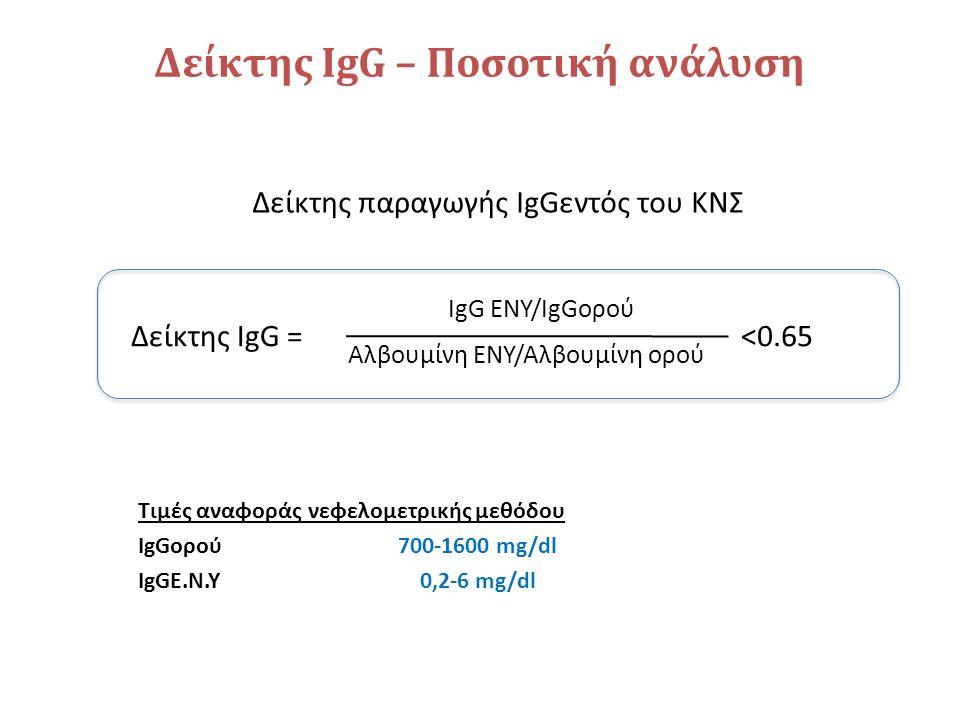 Δείκτης ΙgG – Ποσοτική ανάλυση Δείκτης IgG = IgG ΕΝΥ/IgGορού Αλβουμίνη ΕΝΥ/Αλβουμίνη ορού <0.65 Δείκτης παραγωγής IgGεντός του ΚΝΣ Τιμές αναφοράς νεφελομετρικής μεθόδου IgGορού700-1600 mg/dl IgGΕ.Ν.Υ0,2-6 mg/dl