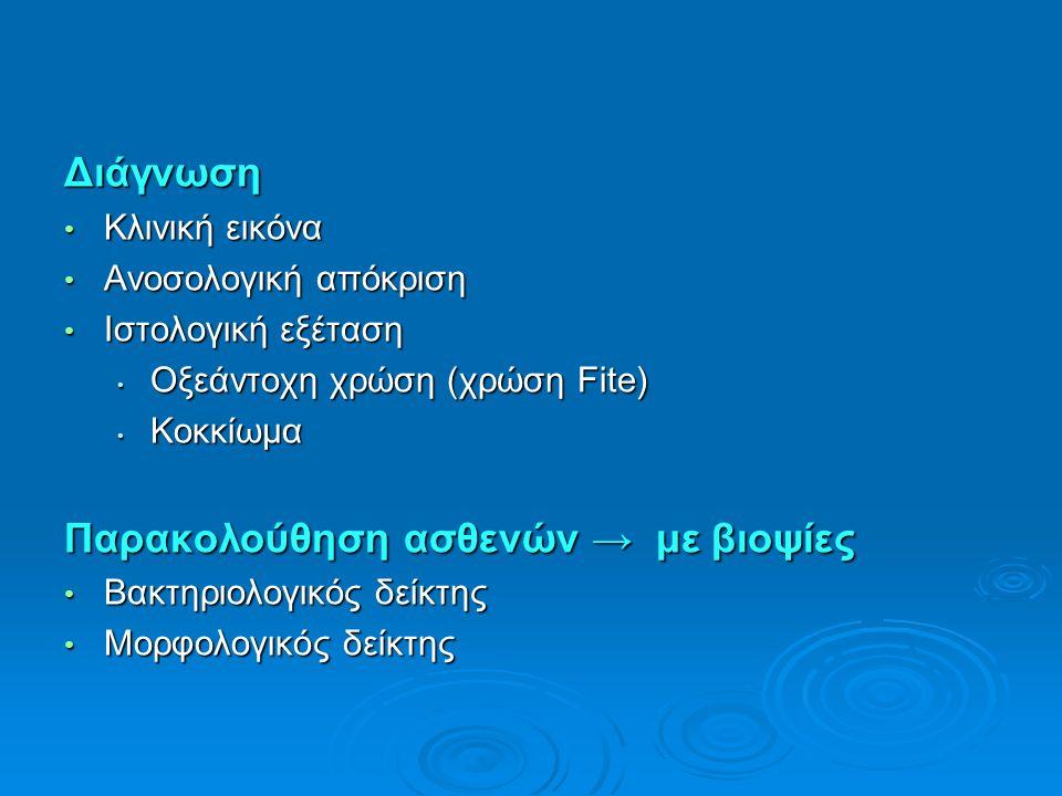 Διάγνωση Κλινική εικόνα Κλινική εικόνα Ανοσολογική απόκριση Ανοσολογική απόκριση Ιστολογική εξέταση Ιστολογική εξέταση Οξεάντοχη χρώση (χρώση Fite) Οξ