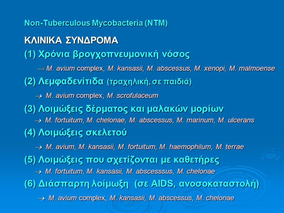 Non-Tuberculous Mycobacteria (NTM) ΚΛΙΝΙΚΑ ΣΥΝΔΡΟΜΑ (1) Χρόνια βρογχοπνευμονική νόσος  M. avium complex, M. kansasii, M. abscessus, M. xenopi, M. mal