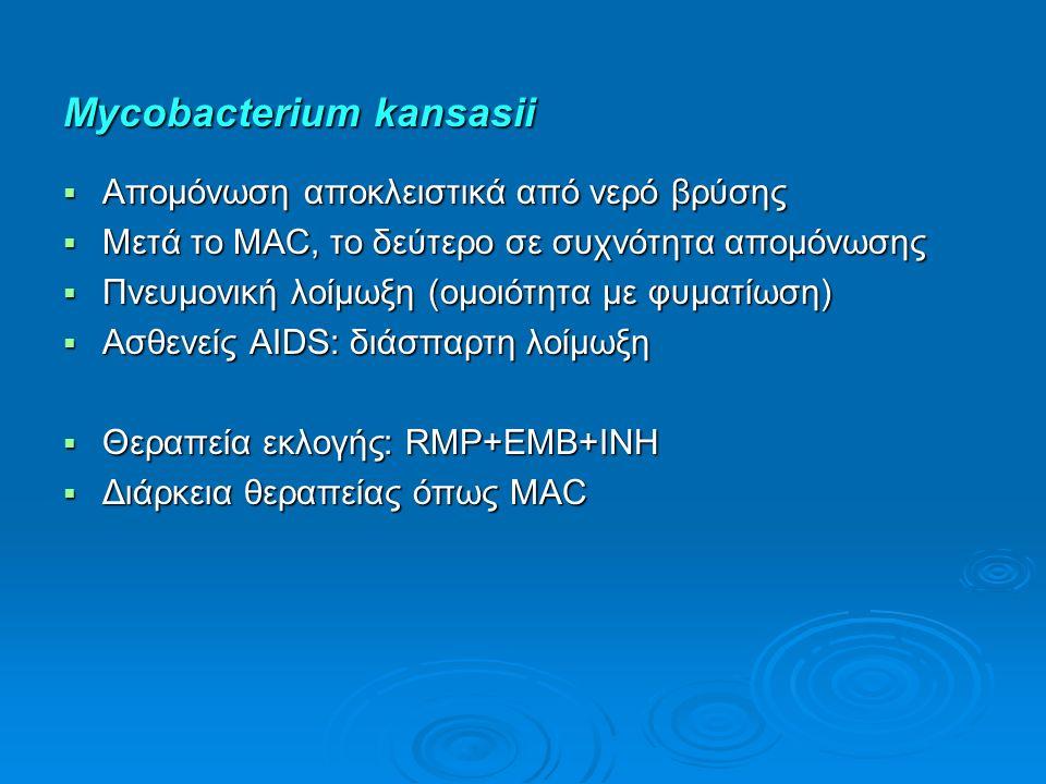 Mycobacterium kansasii  Απομόνωση αποκλειστικά από νερό βρύσης  Μετά το MAC, το δεύτερο σε συχνότητα απομόνωσης  Πνευμονική λοίμωξη (ομοιότητα με φ