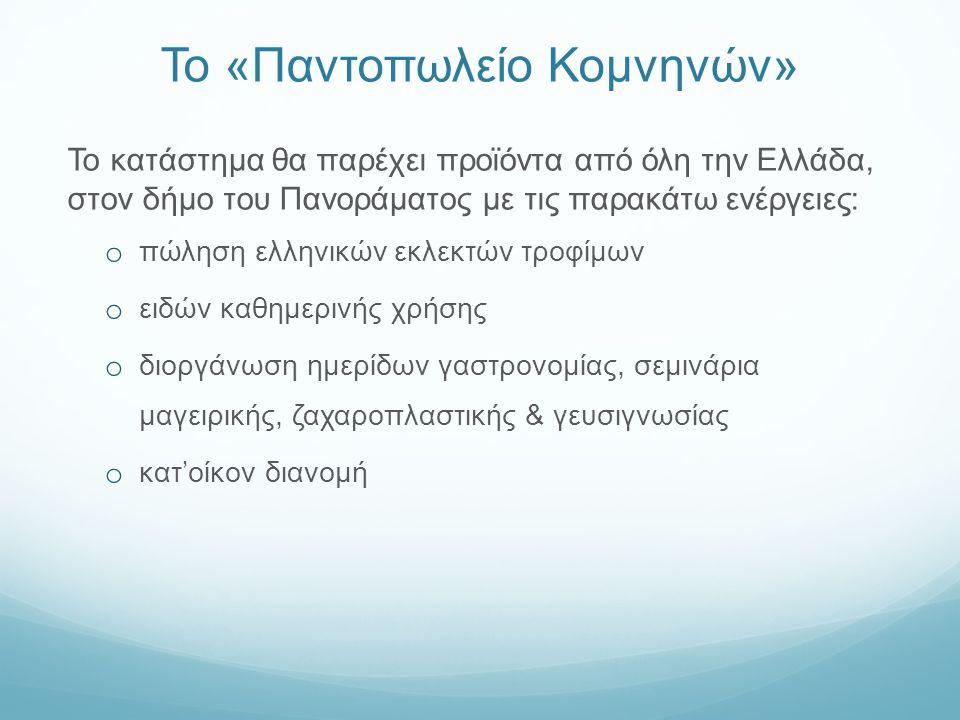 Το «Παντοπωλείο Κομνηνών» Το κατάστημα θα παρέχει προϊόντα από όλη την Ελλάδα, στον δήμο του Πανοράματος με τις παρακάτω ενέργειες: o πώληση ελληνικών εκλεκτών τροφίμων o ειδών καθημερινής χρήσης o διοργάνωση ημερίδων γαστρονομίας, σεμινάρια μαγειρικής, ζαχαροπλαστικής & γευσιγνωσίας o κατ'οίκον διανομή