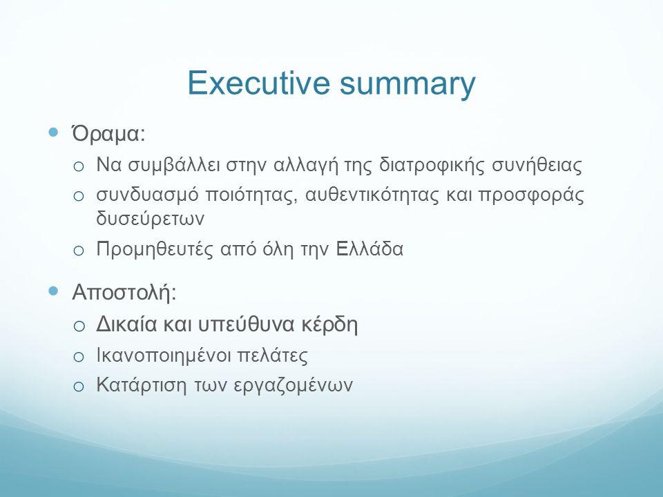 Executive summary Όραμα: o Να συμβάλλει στην αλλαγή της διατροφικής συνήθειας o συνδυασμό ποιότητας, αυθεντικότητας και προσφοράς δυσεύρετων o Προμηθευτές από όλη την Ελλάδα Αποστολή: o Δικαία και υπεύθυνα κέρδη o Iκανοποιημένοι πελάτες o Kατάρτιση των εργαζομένων