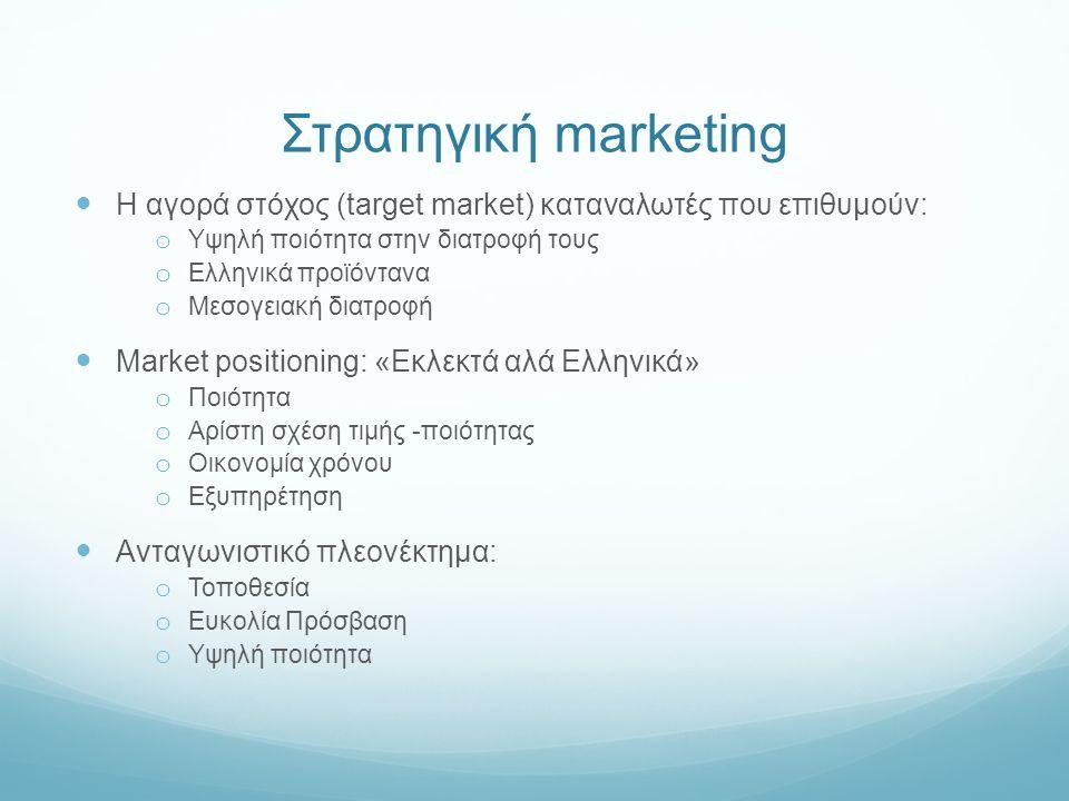 Στρατηγική marketing Η αγορά στόχος (target market) καταναλωτές που επιθυμούν: o Υψηλή ποιότητα στην διατροφή τους o Ελληνικά προϊόντανα o Μεσογειακή διατροφή Market positioning: «Εκλεκτά αλά Ελληνικά» o Ποιότητα o Αρίστη σχέση τιμής -ποιότητας o Οικονομία χρόνου o Εξυπηρέτηση Ανταγωνιστικό πλεονέκτημα: o Τοποθεσία o Ευκολία Πρόσβαση o Υψηλή ποιότητα