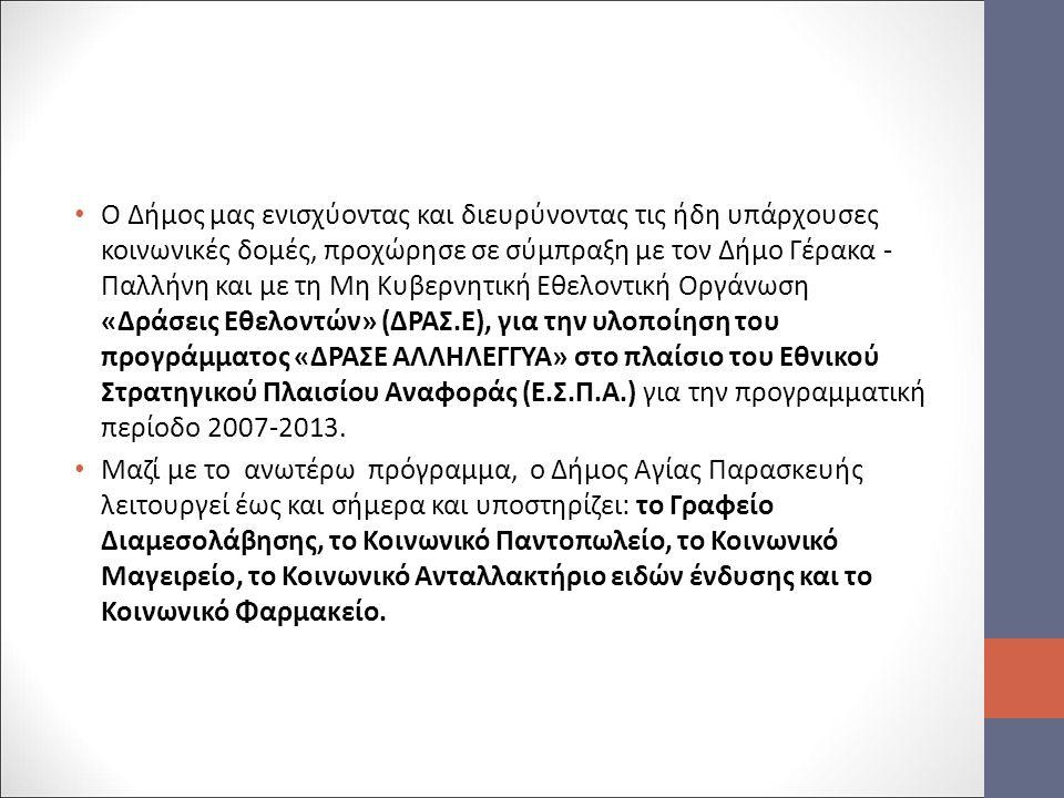 Ο Δήμος μας ενισχύοντας και διευρύνοντας τις ήδη υπάρχουσες κοινωνικές δομές, προχώρησε σε σύμπραξη με τον Δήμο Γέρακα - Παλλήνη και με τη Μη Κυβερνητική Εθελοντική Οργάνωση «Δράσεις Εθελοντών» (ΔΡΑΣ.Ε), για την υλοποίηση του προγράμματος «ΔΡΑΣΕ ΑΛΛΗΛΕΓΓΥΑ» στο πλαίσιο του Εθνικού Στρατηγικού Πλαισίου Αναφοράς (Ε.Σ.Π.Α.) για την προγραμματική περίοδο 2007-2013.