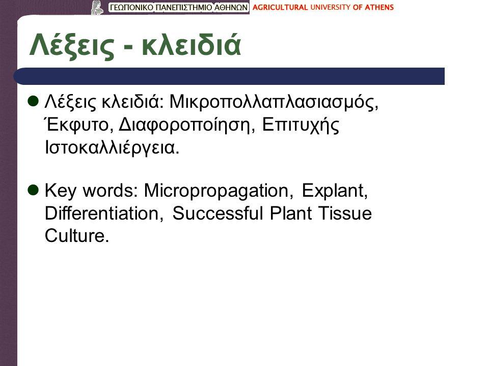 Λέξεις - κλειδιά Λέξεις κλειδιά: Μικροπολλαπλασιασμός, Έκφυτο, Διαφοροποίηση, Επιτυχής Ιστοκαλλιέργεια. Key words: Micropropagation, Explant, Differen