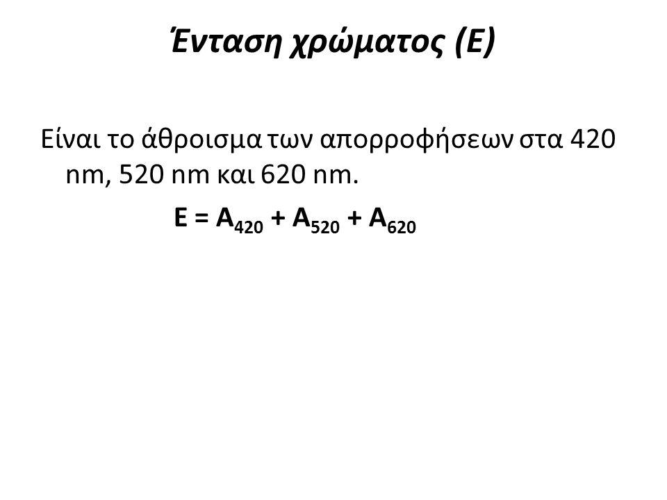 Ένταση χρώματος (Ε) Είναι το άθροισμα των απορροφήσεων στα 420 nm, 520 nm και 620 nm. Ε = A 420 + A 520 + A 620