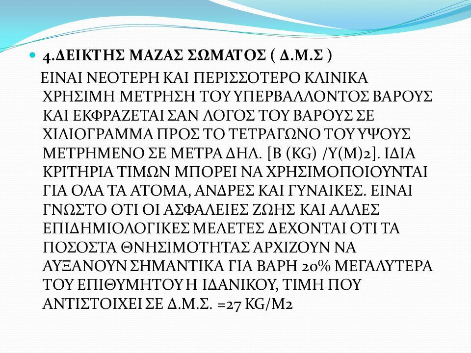 4.ΔΕΙΚΤΗΣ ΜΑΖΑΣ ΣΩΜΑΤΟΣ ( Δ.Μ.Σ ) ΕΙΝΑΙ ΝΕΟΤΕΡΗ ΚΑΙ ΠΕΡΙΣΣΟΤΕΡΟ ΚΛΙΝΙΚΑ ΧΡΗΣΙΜΗ ΜΕΤΡΗΣΗ ΤΟΥ ΥΠΕΡΒΑΛΛΟΝΤΟΣ ΒΑΡΟΥΣ ΚΑΙ ΕΚΦΡΑΖΕΤΑΙ ΣΑΝ ΛΟΓΟΣ ΤΟΥ ΒΑΡΟΥΣ ΣΕ ΧΙΛΙΟΓΡΑΜΜΑ ΠΡΟΣ ΤΟ ΤΕΤΡΑΓΩΝΟ ΤΟΥ ΥΨΟΥΣ ΜΕΤΡΗΜΕΝΟ ΣΕ ΜΕΤΡΑ ΔΗΛ.