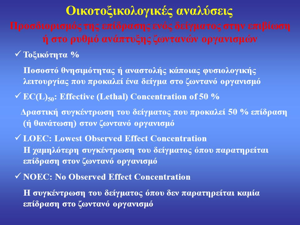 Οικοτοξικολογικές αναλύσεις Προσδιορισμός της επίδρασης ενός δείγματος στην επιβίωση ή στο ρυθμό ανάπτυξης ζωντανών οργανισμών Τοξικότητα % Ποσοστό θνησιμότητας ή αναστολής κάποιας φυσιολογικής λειτουργίας που προκαλεί ένα δείγμα στο ζωντανό οργανισμό EC(L) 50 : Effective (Lethal) Concentration of 50 % Δραστική συγκέντρωση του δείγματος που προκαλεί 50 % επίδραση (ή θανάτωση) στον ζωντανό οργανισμό LOEC: Lowest Observed Effect Concentration Η χαμηλότερη συγκέντρωση του δείγματος όπου παρατηρείται επίδραση στον ζωντανό οργανισμό NOEC: No Observed Effect Concentration Η συγκέντρωση του δείγματος όπου δεν παρατηρείται καμία επίδραση στο ζωντανό οργανισμό
