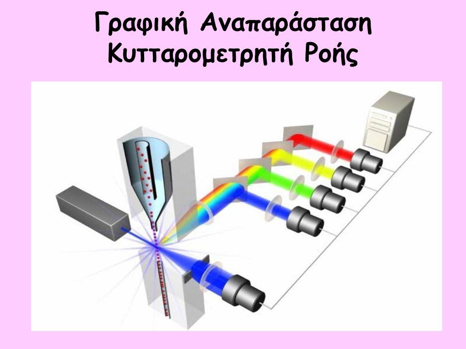 Μέτρηση υψηλού αριθμού κυττάρων σε σύντομο χρονικό διάστημα Ανίχνευση σπανίων δεδομένων (1: 100000) Ταυτόχρονη ανίχνευση δύο μορφομετρικών και τεσσάρων (ή περισσοτέρων) παραμέτρων φθορισμού ανά κύτταρο ( > 6 παραμέτρους ανά κύτταρο) Η ανάλυση μέσω ηλεκτρονικού υπολογιστή επιτρέπει τυποποίηση των κυτταρικών πληθυσμών Ευαισθησία (1:10000 – 1: 100000) Πλεονεκτήματα κυτταρομετρίας ροής